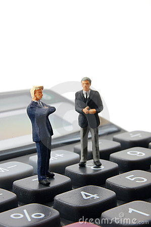 Business People On Calculator Isolated Stock Photo Image