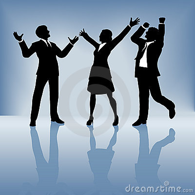 Business people celebrate on gradient background