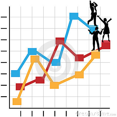 Business People Celebrate Success on Chart