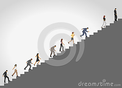 Business people climbing stair.