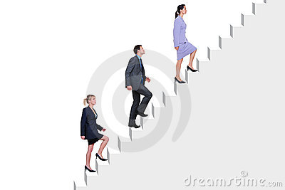 Business people climbing stairs
