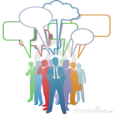 Business people colors communication speech bubble