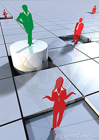 Business people concept on 3d blocks 3