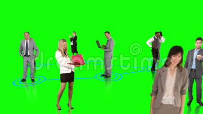 Business people connecting on green background. Digital animation of Business people connecting on green background stock video