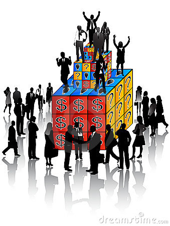 Business people and cubes