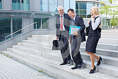 Business people descending