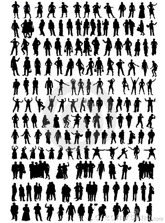 Business people, different silhouettes