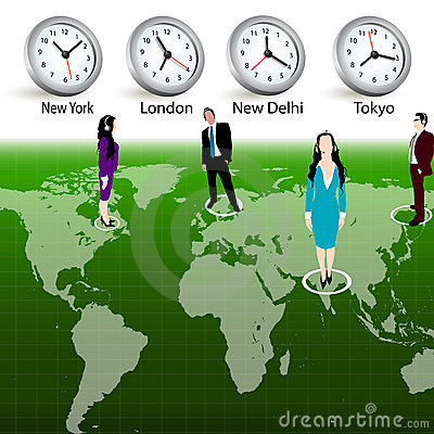 Business people,different time zones