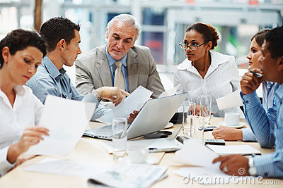 Business people discussing at a meeting