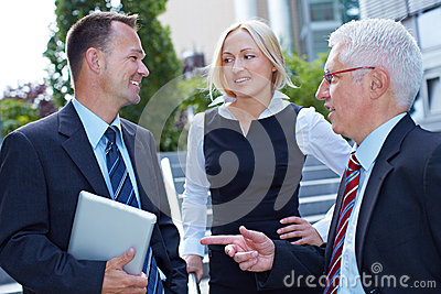 Business people doing small talk