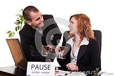 Business people enjoying coffee-break