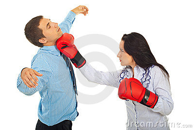 Business people fight