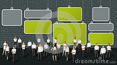 Business people in front of brick wall