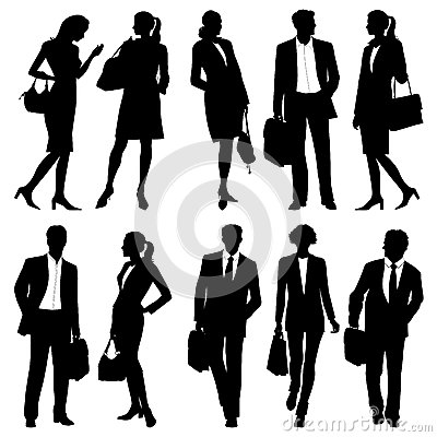 Free Business People - Global Team - Vector Silhouettes Stock Image - 38699011