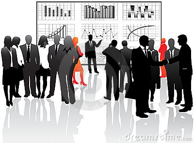 Business people and graphs