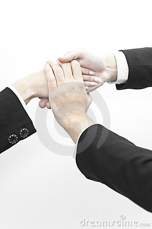 Business people with hands overlapping