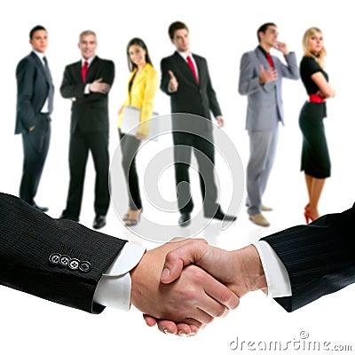 Business people handshake and company team