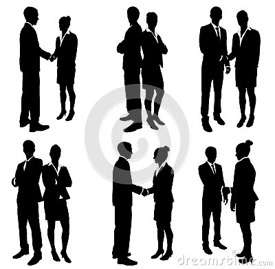 Business people handshake silhouettes