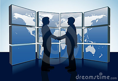 Business people handshake world map monitors