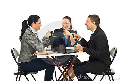 Business people having funny conversation
