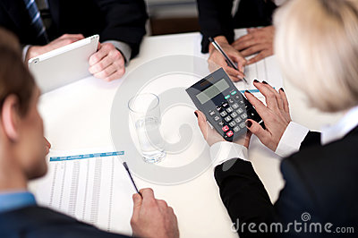 Business people having meeting together