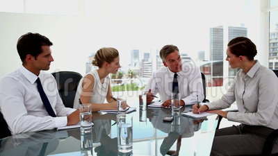 Business people having a serious discussion. During a meeting stock footage