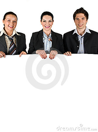 Free Business People Holding A White Board Royalty Free Stock Photos - 9186358