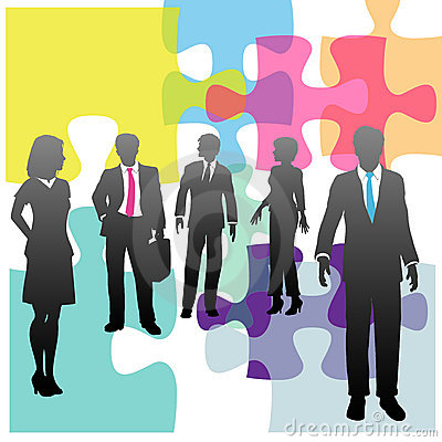 Business people human resources solution puzzle