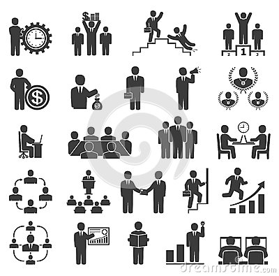 Free Business People In Work. Office Icons, Conference, Computer Work Royalty Free Stock Photography - 56224977