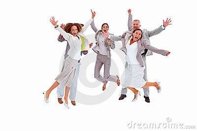 Business people jumping against white background
