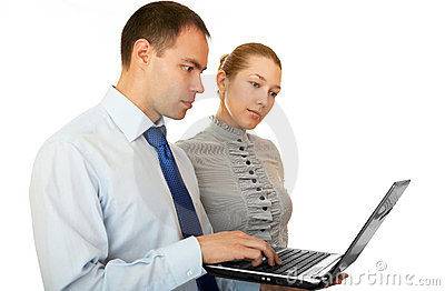 Business people with laptop.
