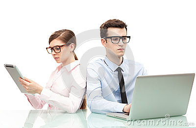 Business people with laptop and digital tablet