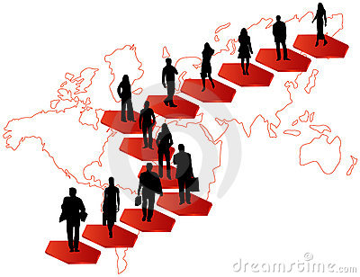 Business people and map