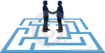 Business people meeting find maze solution