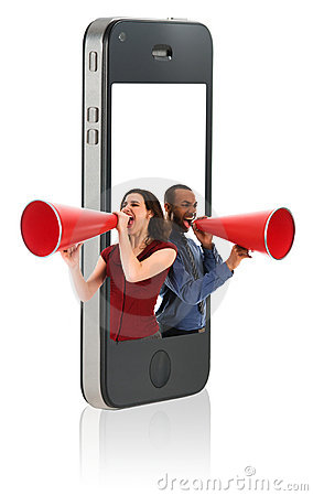Business people with Megaphones