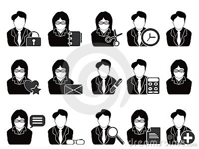 Business people with office tools icon