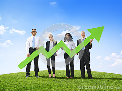 Business People Outdoors Holding Developed Line Graph