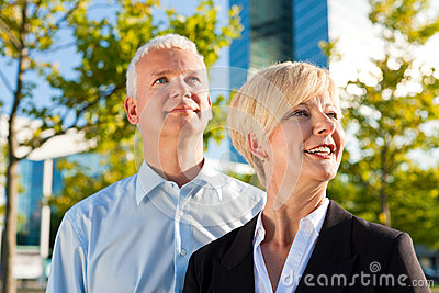 Business people in a park outdoors
