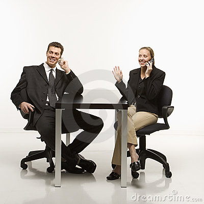 Business people with phones