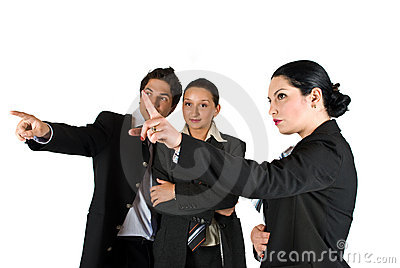 Business people pointing