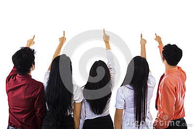 Business people pointing at copy space