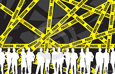 Business people in a police tape background