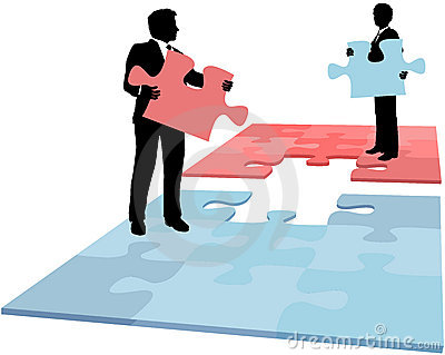 Business people puzzle solution collaboration