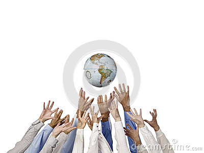 Business people reaching for the world
