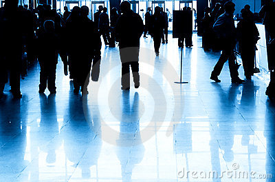 Business people silhouette in modern interior