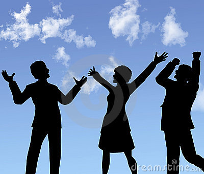 Business people silhouettes celebrate a win