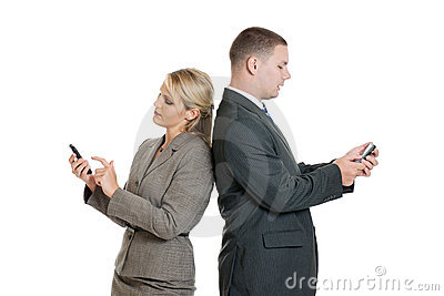 Business people with smartphones