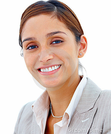 Business people - Smiling friendly woman on white