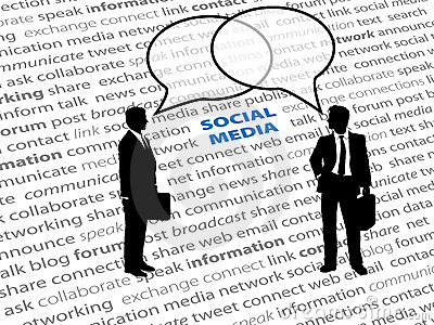 Business people social network text talk bubbles