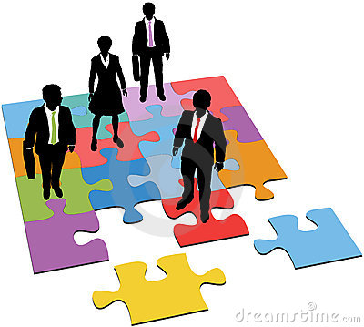 Business people solution resources puzzle